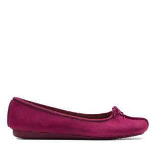 Clarks Womens Freckle Ice Raspberry Nubuck Shoes